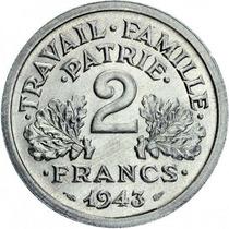 França - 2 Francos De 1.943 - Vichy - Ii Guerra
