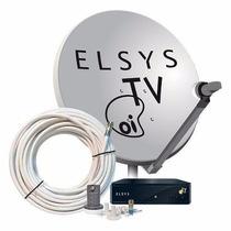Oi Tv Livre Hd Ses 6 Elsys Com Antena 60cm + Brinde Cabo 20m