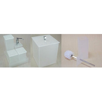 Kit Potes P/ Banheiro Em Acrílico Jateado C/ Strass Completo