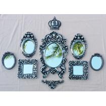 Kit Border E Coroa + 7 Espelhos Para Decoração Prata Velho