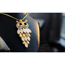 Colar Pingente Coruja Dourado Pedra Opala Cristais Comprido
