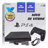 Ps4 Slim Novo Vitrine Hdr 1tb Bivolt Sony Com 2 Jogos Físicos De Brinde