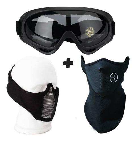 e0e5e1a0a Kit Airsoft Oculos X400 Mascara Meia Face Confort Balaclava