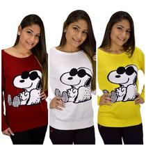 Blusa Tricot Feminina Snoopy, Mickey, Coruja, Âncora