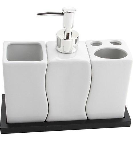 Comprar Kit Banheiro Porcelana Saboneteira Liquido Porta