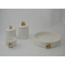 Urso Kit Higiene Porcelana Cerâmica Algodão Cotonete Bebê