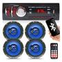 Kit 4 Alto Falantes 6 Pol 260w + Som Radio Mp3 Usb Bluetooth Original