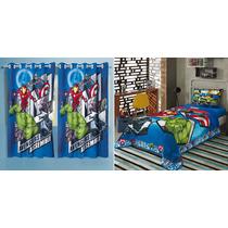 c47592220a Cortina Avengers Vingadores + Jogo De Cama 2 Peças Lepper à venda em ...