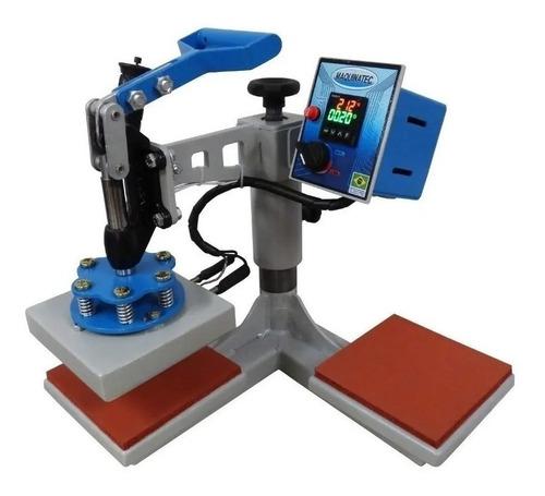 Prensa Sublimadora E Transfer Manual Maquinatec 15x15 Dos Bandejas Cinza E Azul 110v