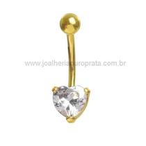 Piercing Umbigo Em Ouro Amarelo 18k C/ Zircônia Coração