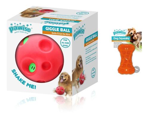 2 Brinquedo Para Cachorro Bola Sonora E Mordedor Pawise