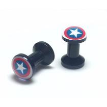 Alargador Orelha Plug Capitao America 8mm Herois Acrílico