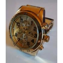 Relógio Masculino Mod: Quiksilver Pulseira Dourada Top