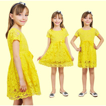 Vestido Infantil Menina Festa Princesa Renda Pronta Entrega