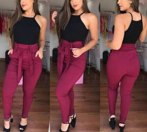 4b575a0ec Calça Laço Feminina Bengaline Skinny Cintura Alta Casual