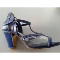 Sandalia Salto Baixo (sorvete) Em Couro Azul, Ref 393