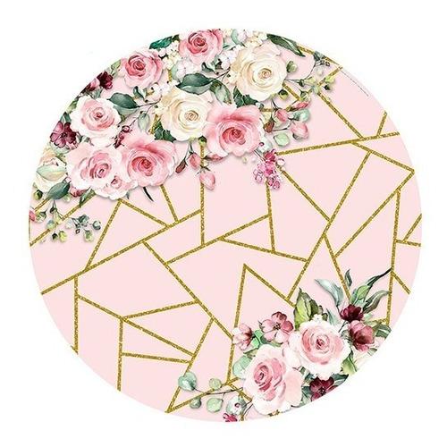 Painel Redondo Sublimado 3d Flores Em Tecido - 1,5x1,5m