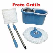 Spin Mop Inox Balde Giratorio + Cabo + 2 Refis Frete Gratis