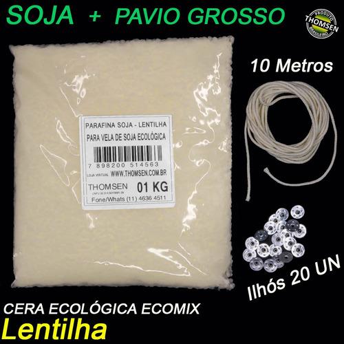 Kit 2kg Parafina Ecologica Soja +10 Metros Pavio Grosso Vela