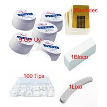 Kit Gel Uv 5x Unha 100 Tips Molde Lixa Bloco Fibra De Vidro