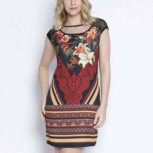 7c4a72cf2 Vestido Feminino Vinculo Básico Floral Promoção Instagram