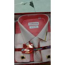 Camisa Social Importada +gravata+abotoadura E Prendedor