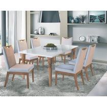 Conjunto Mesa De Jantar 1,8mx90cm 8 Cadeiras Avila - Rafana