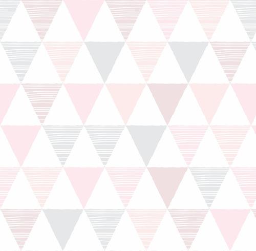 Papel Parede Quarto Triangulo Geometrico Cinza Tom Rosa 1 5m