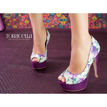 Peep Toe Torricella Meia Pata Roxo Floral Salto 13,5 Cm