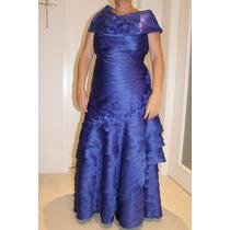 Vestido De Festa Luxo, Mãe De Noiva/noivo Tamanho 46 Azul