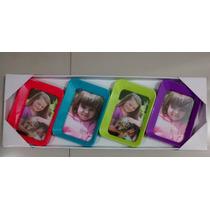 Porta Retratos Colorido Tipo Quadro Para 4 Fotos 10x15 Cm
