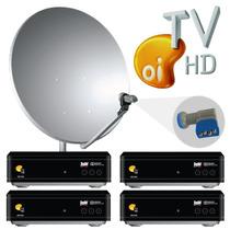 Kit Oi Tv Livre Hd 4 Pontos Lnbf Quadruplo + 4 Cabo + Antena