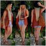 Colete Kimono Tricot Crochê Franja Moda Blogueiras Femininas
