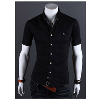 Atacado Kit 5 Camisas Sociais Slim Fit Manga Curta