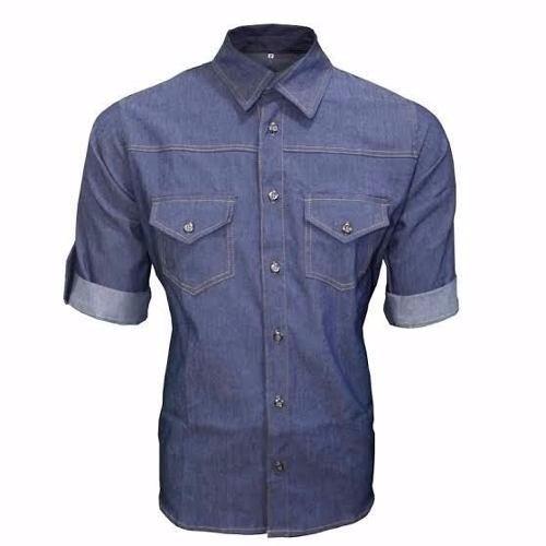 Camisa Masculina Tecido Jens Azul Escuro Chambrey Mangacurta