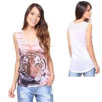 Blusa Tigre Feminina Mooncity - Branco