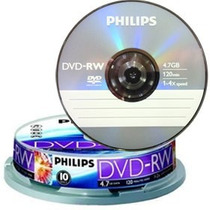 Dvd-rw Regravável Philips Mídia Virgem C/10 100% Original!