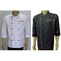 Kit 2 Jaquetas Chef Jaleco Cozinheiro Personalizada Bandeira
