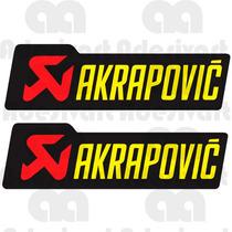 Par Adesivos Akrapovic Escapamentos Moto Carenagem Esportiva