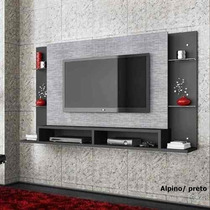 Home Painel Teater Tv 42 Parede Malbec Cinza Marrom Branc