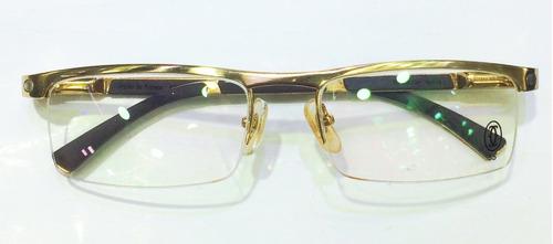 Armação Para Oculos De Grau Cartier Titanium Meio Aro Gold - R  119 ... 75bf3ecd05