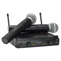 Microfone Sem Fio Duplo Uhf Case Sm-58ii Pronta Entrega