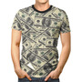 Camiseta Básica 3d Full Roupa Notas Dólar Dinheiro Unissex