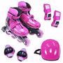 Roller Patins Rosa Completo + Kit Proteção M (34-37)