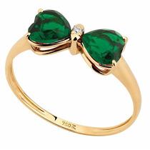 Anel Laço De Zircônia Verde Em Ouro 18k - 5260z