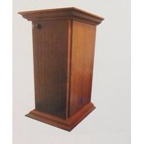 Mesa Pedestal Pilar Canto Para Telefone Com Porta - Madeira