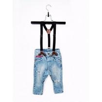 Calça Jeans Infantil Com Suspensório Ripped