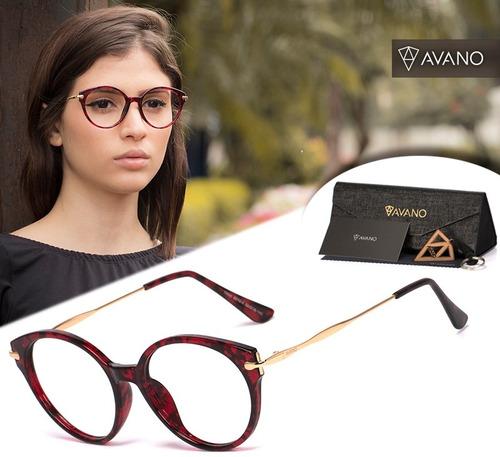 Armação Oculos Grau Feminino Avano Av 63-c Acetato Original c1fd0ca99b