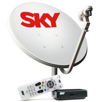 Kit Antena Parabólica E Receptor Sky Pré Pago Flex Sd