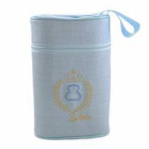 Porta Mamadeira Térmico Duplo Bordado - Azul - Lipi Baby